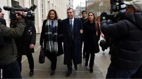 Juan Angel Napout arrives for his trial