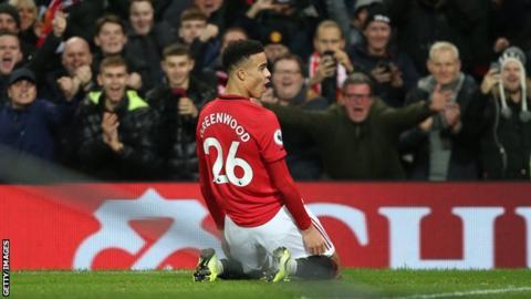 Mason Greenwood celebrates scoring for Manchester United