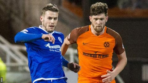 Josh Todd (left) in action for Queen of the South against Dundee United