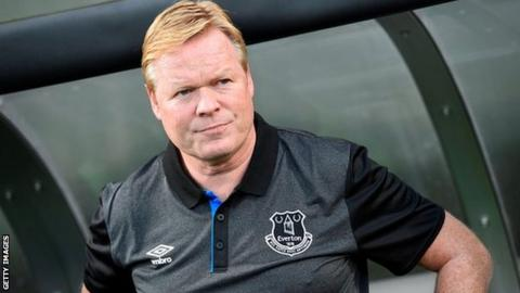 Ronald Koeman is taking training as usual at Everton's Finch Farm training ground today