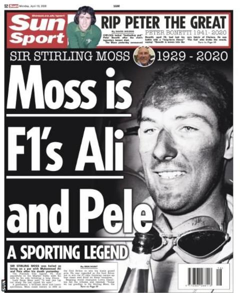 The back page of Monday's Sun