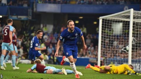 Gonzalo Higuain celebrates scoring for Chelsea against Burnley