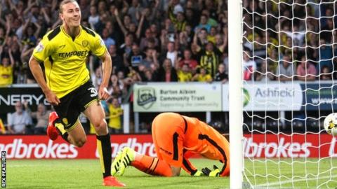 Burton's Jackson Irvine scores against Derby County