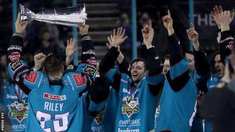 Belfast Giants' Blair Riley pictured with the Elite Ice Hockey League trophy
