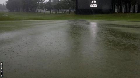 A flooded Accordia Golf Narashino Country Club