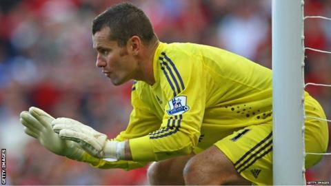 Shay Given in goal during his Newcastle days