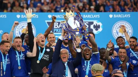 Leicester celebrate winning the Premier League