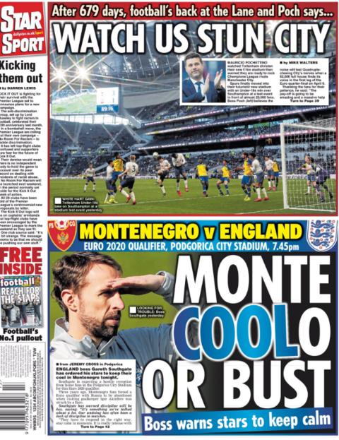 The Star points to Gareth Southgate telling his players to keep their cool