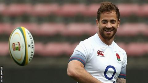 Danny Cipriani smiles during England training