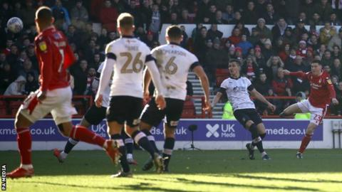 Joe Lolley scores his second goal for Nottingham Forest against Luton