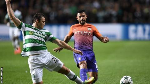 Sviatchenko challenges for the ball against Man City