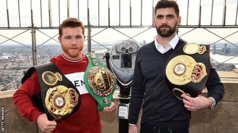 Alvarez (left) will take on Liverpool's Rocky Fielding in New York on 15 December