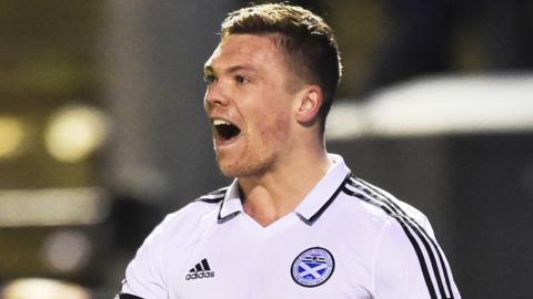 Craig Moore celebrates scoring for Ayr United
