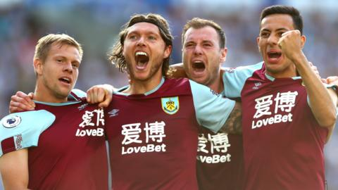 Burnley players celebrate Jeff Hendrick's goal against Brighton