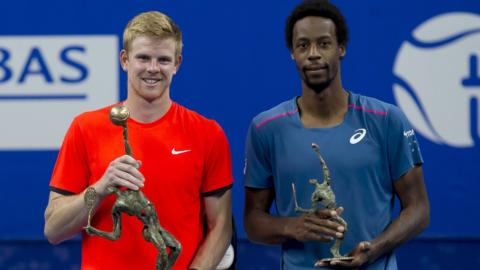 Kyle Edmund (left) and Gael Monfils with their European Open trophies