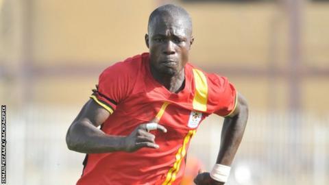 Uganda's goal scorer Ceaser Okhuti