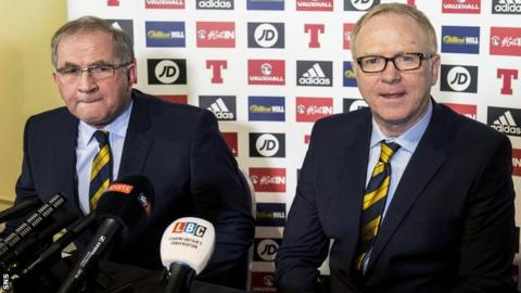 Alex McLeish was unveiled by Scottish FA president Alan McRae in February 2018