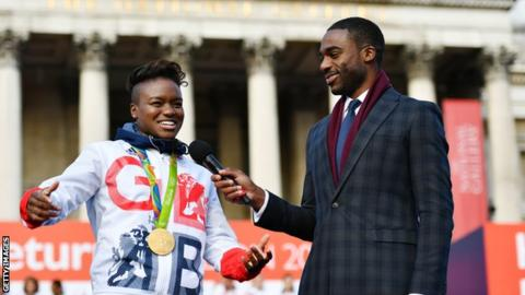 Ore Oduba interviews Nicola Adams in 2016 after the Olympics