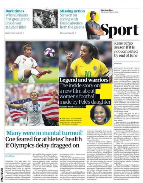 Guardian back page on Monday, 30 March