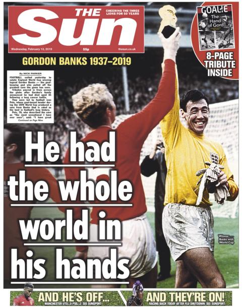 Sun front page on Wednesday