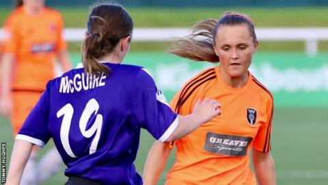 Sam Kerr playing for Glasgow City against Glasgow Girls