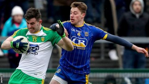 Donegal's Patrick McBrearty attempts to shake off Roscommon's Niall McInerney at Dr Hyde Park
