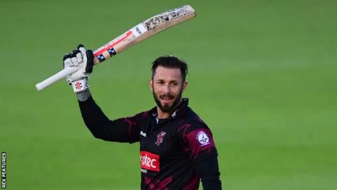 Peter Trego celebrates his 100 for Somerset against Hampshire