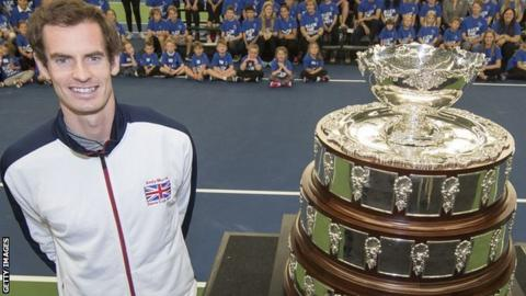 Great Britain's Andy Murray with the Davis Cup