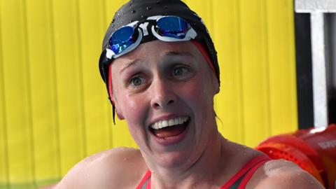 Hannah Miley reacts after winning bronze at the European Championships