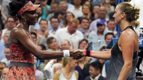 Venus Williams and Petra Kvitova shake hands a the end of their match