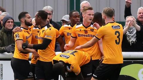 Maidstone United celebrate their goal against Torquay