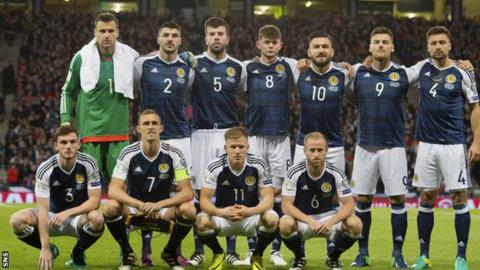 Scotland's players pose for an official team photo before the game