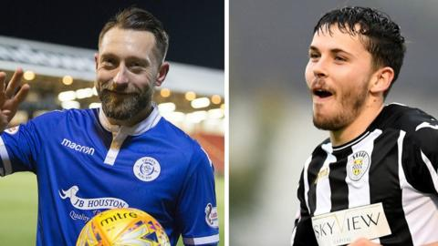 Queen of the South's Stephen Dobbie and St Mirren's Lewis Morgan