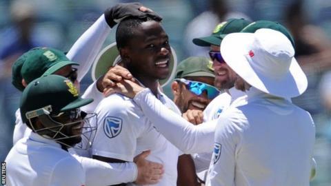 Kagiso Rabada celebrates a wicket