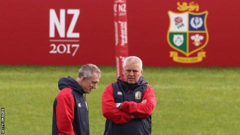 British and Irish Lions head coach Warren Gatland (right) and backs coach Rob Howley
