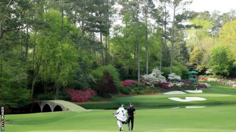 Matt Wallace during a practice round at Augusta