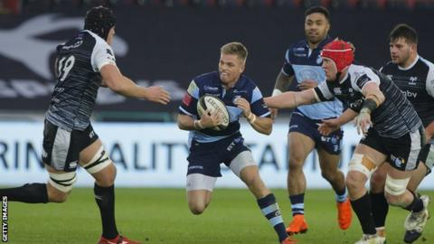 Gareth Anscombe with ball in hand against the Ospreys, the team he will play against and then sign for