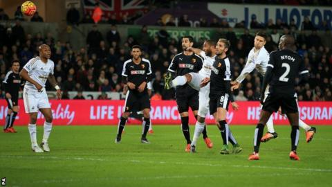 Ashley Williams scores for Swansea against Watford