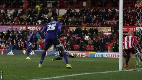 Callum Harriott scores his second goal of the afternoon in Charlton