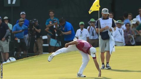 Sergio Garcia celebrates his hole in one