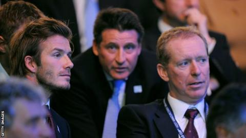 David Beckham, Lord Sebastian Coe and Andy Anson in 2010