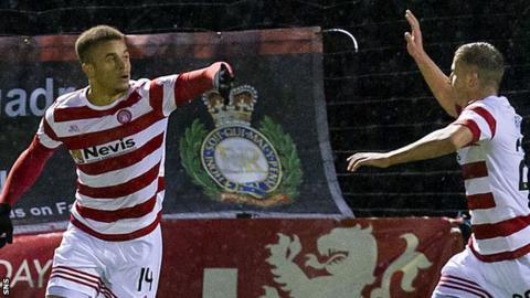Hamilton's Carlton Morris (left) celebrates scoring against Inverness CT