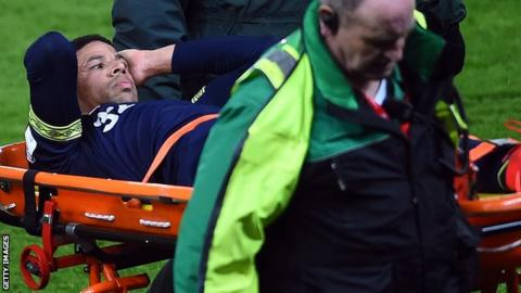 Curtis Davies of Derby County is stretchered off during the Championship match between Stoke City and Derby County