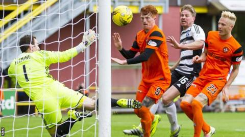 Simon Murray nods home the opening goal for Dundee United