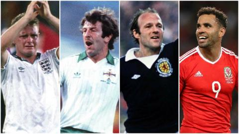 Northern Ireland Paul Gascoigne, Gerry Armstrong, Archie Gemmill and Hal Robson-Kanu