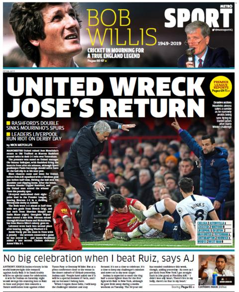 Thursday's Metro back page