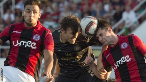 Erik Sviatchenko in action against Lincoln Red Imps