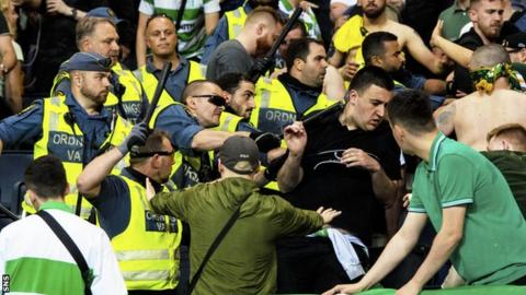 Fans and police clashed in the away end at the Friends Arena