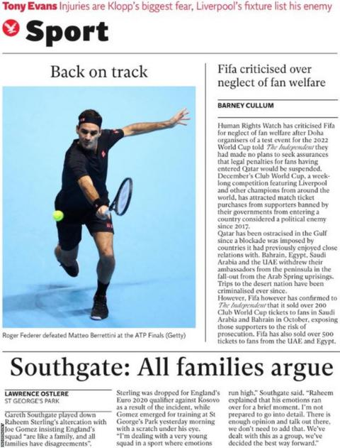 Independent main sport page