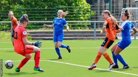 Kirsty Howat (second right) scores Glasgow City's opener after just six minutes